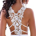 Blusas femininas V Cuello con Sexy Bordado Hollow Out Back Blanco/Negro top shop mujeres de las Señoras chaleco nuevo 2017 LC25065