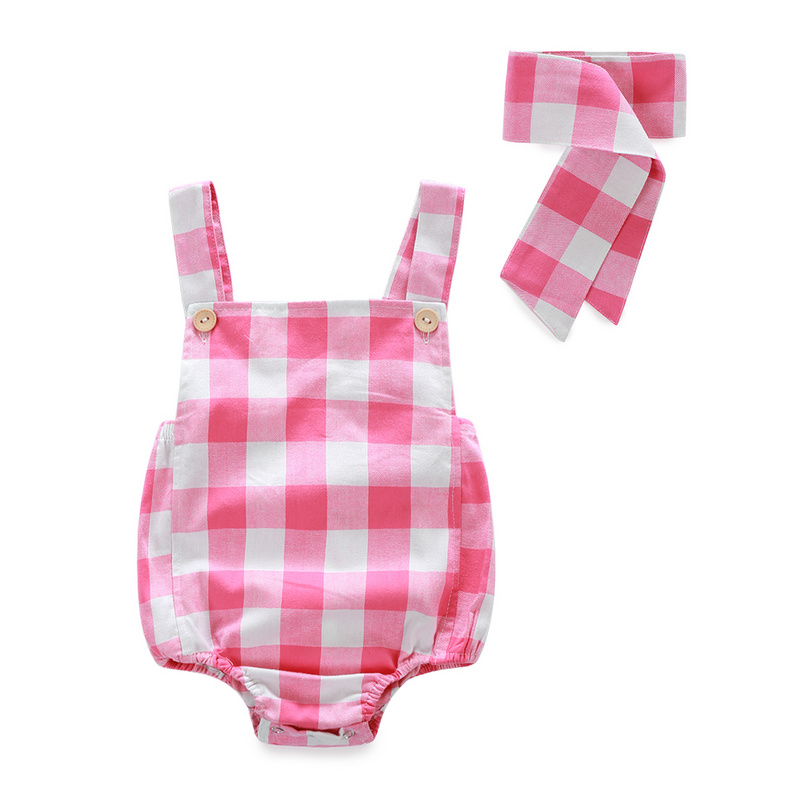 Baby Girl Clothes 2017 Girls New Summer Baby Rompers Plaid Onesie Rompers Baby Girls Sleeveless Newborn Baby Jumpsuits Cheap