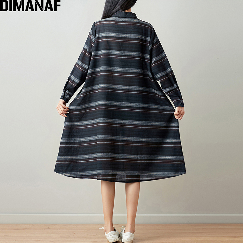 DIMANAF Women Blouse Long Sleeve Shirt Linen Autumn Plus Size Femme Striped Print Office Lady Basic Clothing Loose Cardigan 2018 4