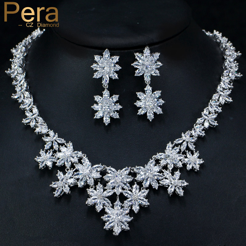 Pera Luxury Bridal Wedding CZ Jewelry Set Big Cubic Zirconia Heavy Drop Flower Pendant Necklace And Earring For Brides Gift J082 pera newest big vintage hollow out design yellow cubic zircon round drop pendant necklace and earrings set for luxury women j199
