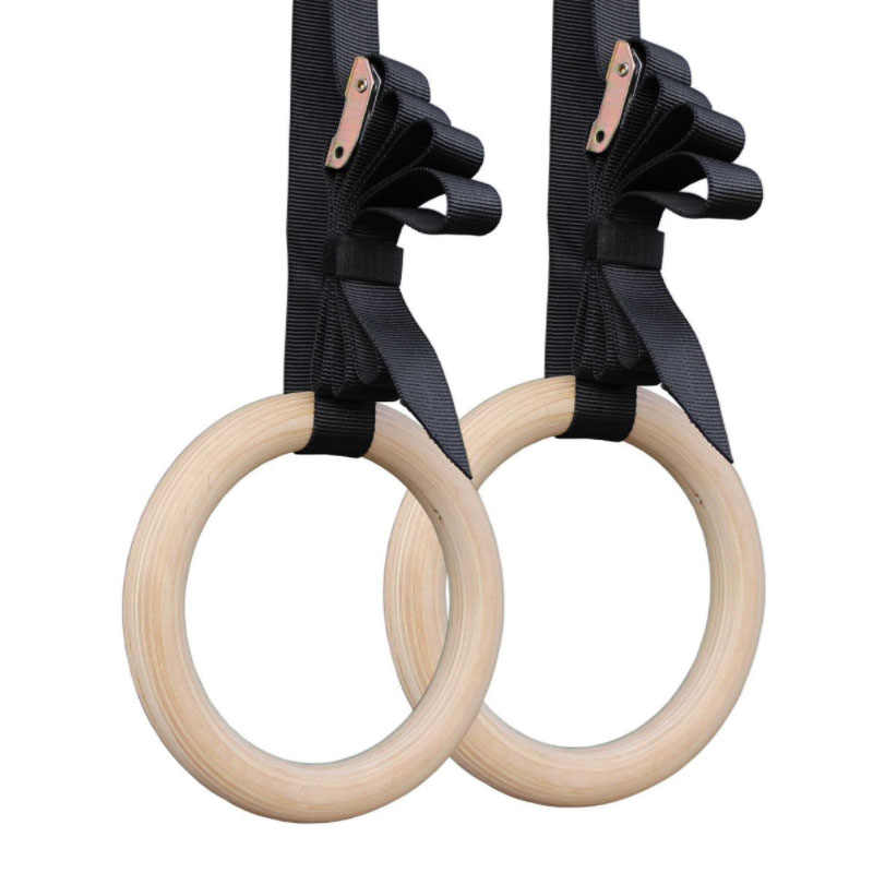 Gymnastic Rings Exerciser Crossfit Fitness Gym Exercise Wooden Pull Ups Muscle Training Ring With Buckle Straps