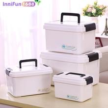 Household portable medicine box( LARGE SIZE ) multi-grid multi-function plastic storage box hospital pharmacy