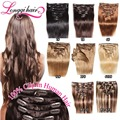 """Clipe em extensões de cabelo humano 8 pcs 18 """" 20 """" 22 """" 24 """" brown clipe em extensões de cabelo humano peruano virgem cabelo longqi"""