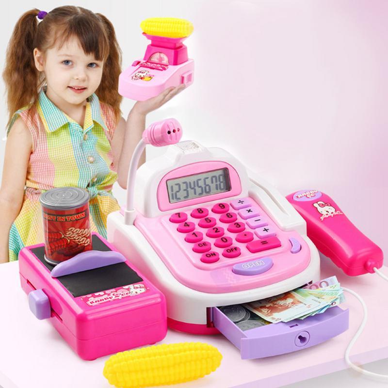Kids Supermarket Cash Register Electronic Toys With Foods Basket Money Children Learning Education Pretend Play Set ( Gift Box )