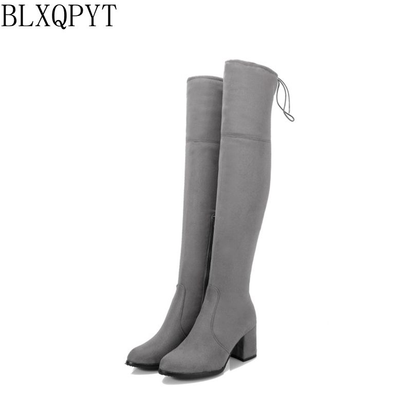 BLXQPYT Sale Super Big Size 32-48 Women Over knee High Boots Sexy High Heels  Winter Boots High-quality Party shoes woman M257-4