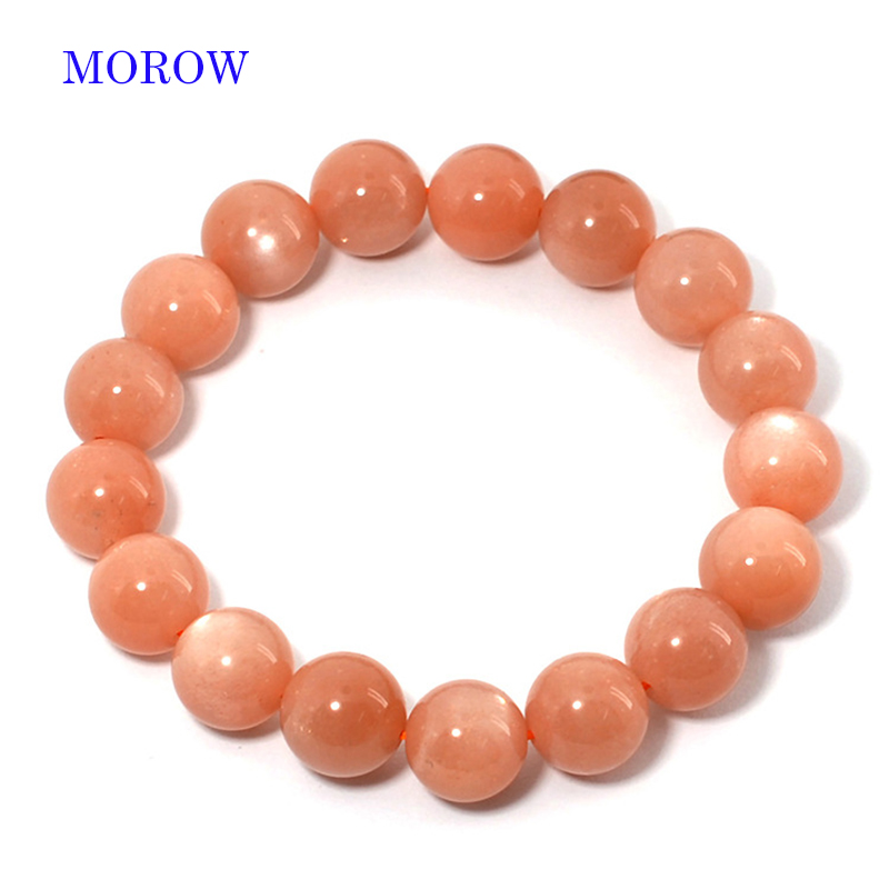 MOROW Women's Bracelets Natural Moonstone Stone Round Beads Fashion Jewelry Charms Bracelete Elastic Rope Pink Bracelet 8mm