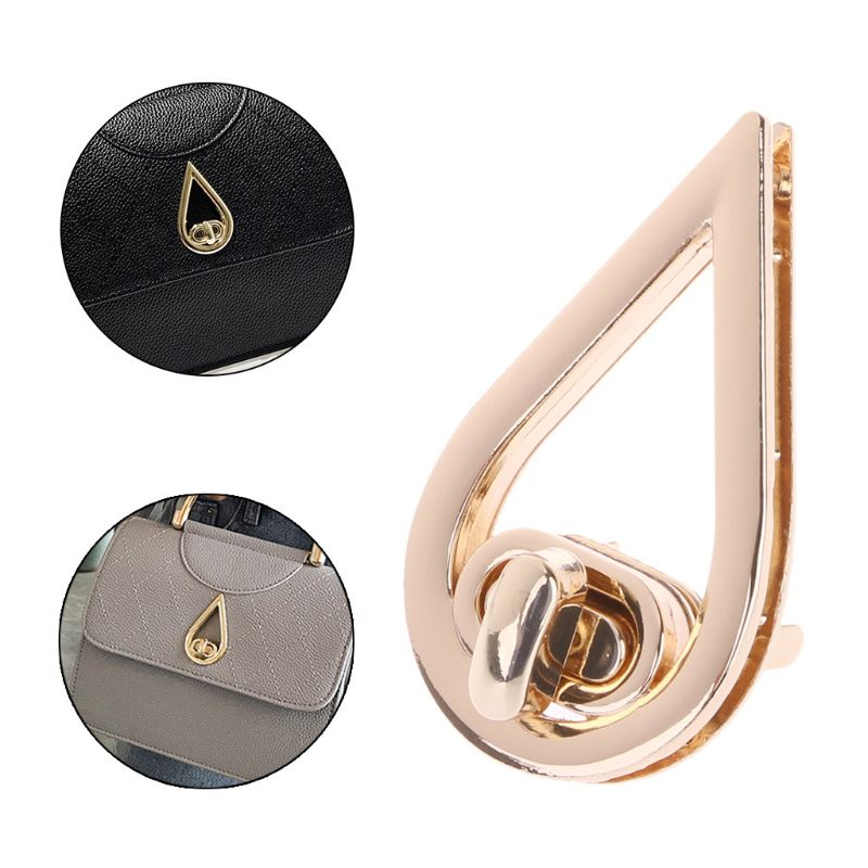 Water Drop Shape Clasp Turn Lock Twist Locks DIY Leather Handbag Bag Hardware