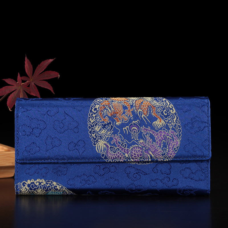New Ladies Soft Blue Leather and Silk Brocade Patchwork Clutch Wallet Long Card Purse Handbag Free