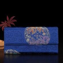 Новые мягкие женские синие кожаные и шелковой парчи лоскутное клатч бумажник длинный карты Кошелек Сумочка Бесплатная доставка YJSN102-2