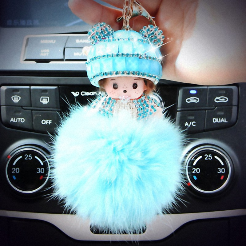 Hat Monchichi Key Chain Sleutelhanger Strass Keyring Fluffy Ribbit Fur Ball Pom Pom Women Bag Charm Porte ClefFo-K002-light blue