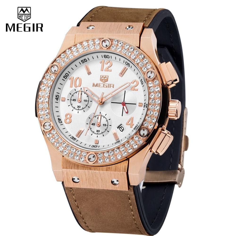 Prix pour Megir De Luxe Brand Design Dames Montre Femmes en cuir bracelet en silicone Bracelet strass Cristal Diamant Quartz-montre Horloge Femmes