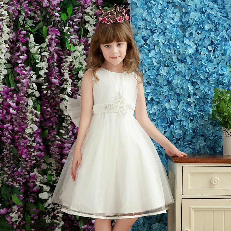 It's yiiya White Zipper O-neck Bow Pearls Ball Gown Kid   Flower   Child Cloth   Flower     Girl     Dress   For Party Wedding   Girl     Dress   S202