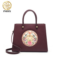 PMSIX 2019 New Embroidery Floral clutch Handbags Large capacity wine red Women Shoulder Bag Fashion High quality classic bags