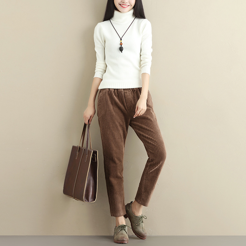 Art Van retro loose large size pant GIRL was thin corduroy corduroy harem pants casual trousers