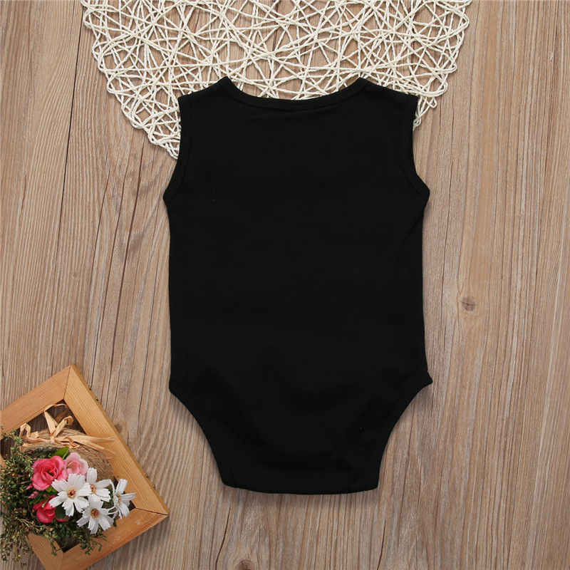 ac6fe6b2b ... Newborn Baby Girl Boys Letters Bodysuit Children Clothing Summer  Costume Girls Black Bodysuits Jumpsuit Playsuit Outfits ...