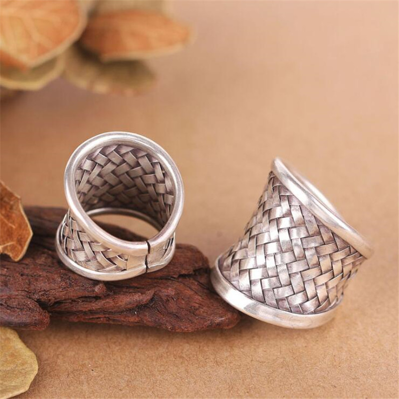 1pcs New Fashion 22mm Width Silver Ring Men Women Solid 925 Sterling Silver Ring Braided Woven Ring Personalized Silver Jewelry