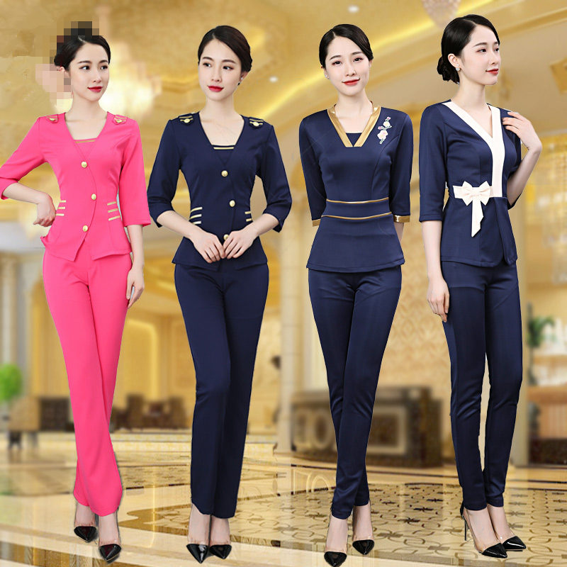 Women SPA Uniform Health Club Half Sleeve Top+Pants Set Hospital Nurse Workwear Female Beauty Clothing Beautician Work Clothes
