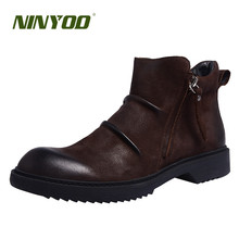 NINYOO High Quality Spring Men Clelsea Boots Genuine Leather Shoes Winter Wearproof Ankle Boots Fur Zipper Outdoor Snow Martin