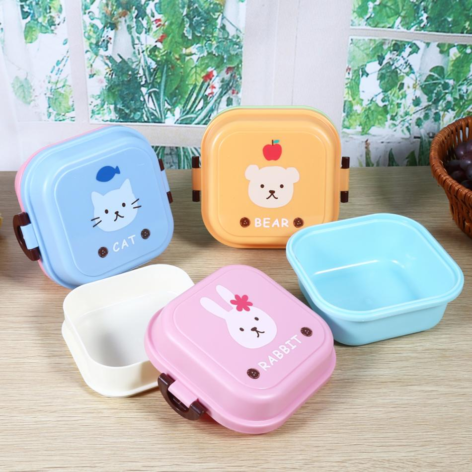 Cute Students Lunch Box Cartoon Print Dual-layer Food Container Set Lunch Container Storage 3 Colors  цены