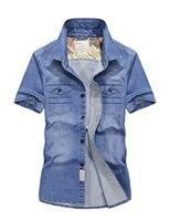 Jeans Short Sleeves 2017 Summer New Camisa Denim Hombre Solid Color Dress Shirts Short Sleeve Shirts