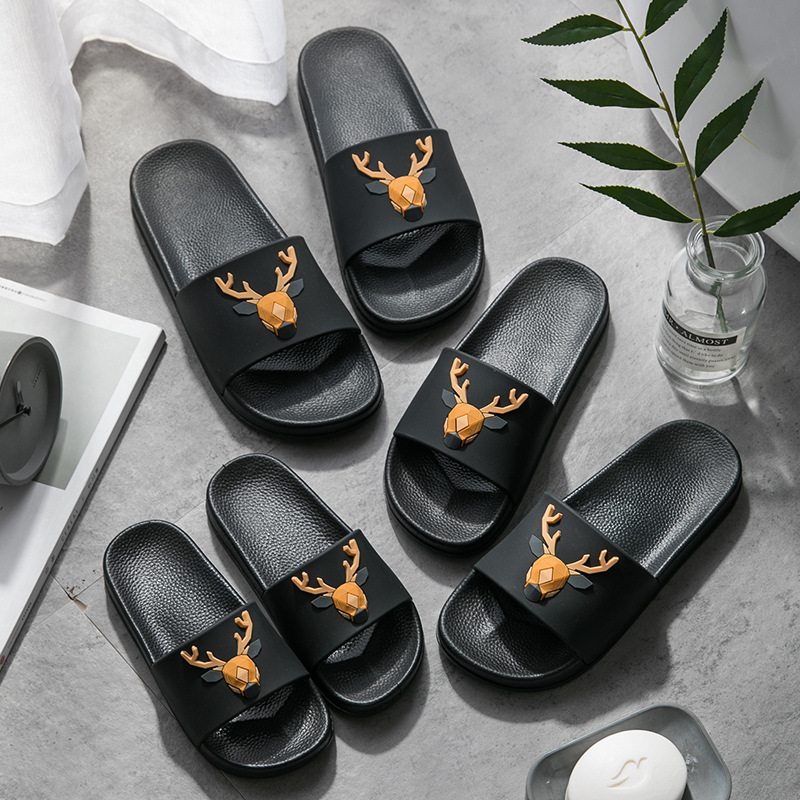 Summer women slippers Cute Deer  Sofe PVC indoor Slippers for Parent-child Non-slip kids indoor shoes