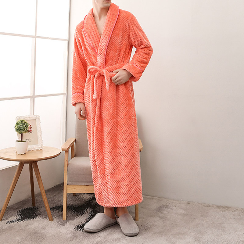 Couple Belted Women'S Robes Soft Coral Fleece Warm Long Bathrobe Plush Kimono Sleepwear Nightgown Winter Spa Robe With Pocket
