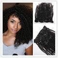 Annabelle Estilo de Pelo Color Natural 1B de la Señora Clip de La Cabeza Llena Kinki Rizado Cabello Ondulado Extensiones de cabello Clips en el Pelo Humano 10 UNID