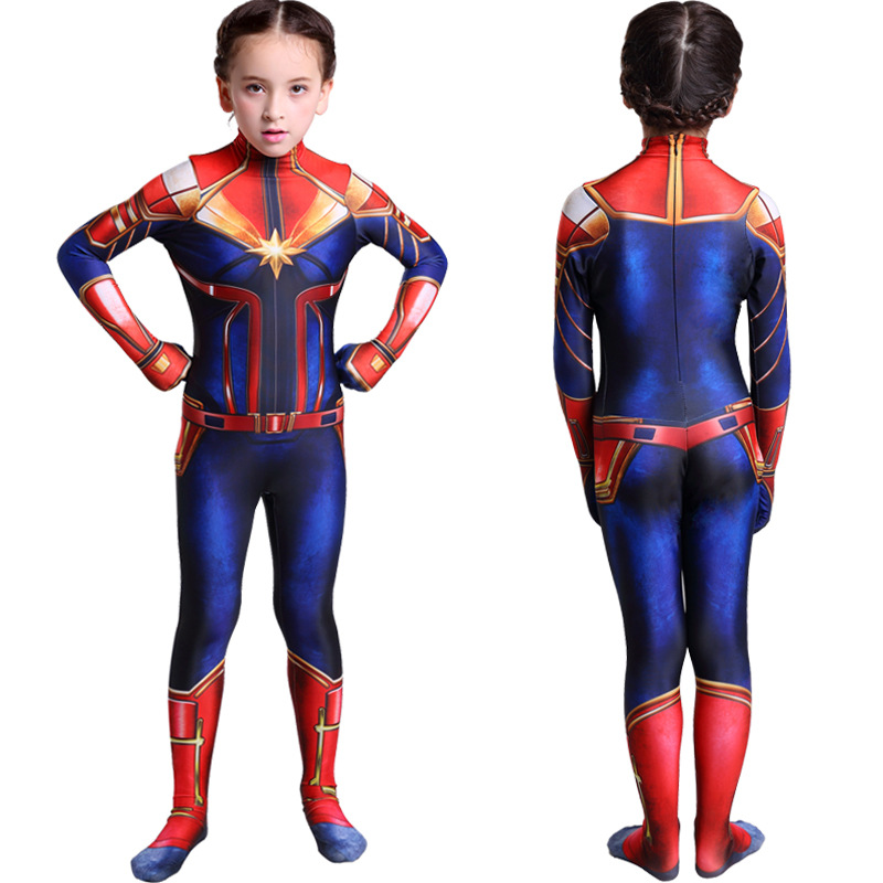 Girls Captain Marvel Cosplay Costume Children Superhero Ms Marvel Carol Danvers Bodysuit Jumpsuit Halloween Kids