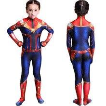 Girls Captain Marvel Cosplay Costume Children Superhero Ms Carol Danvers Bodysuit Jumpsuit Halloween Kids