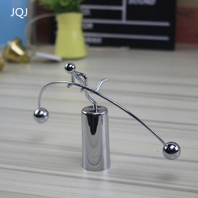 JQJ 1 Piece Weightlifter Mold Miniature Metal People Figurine Desk Ornaments  Perpetual Dynamic Kinetic Balancing Instrument