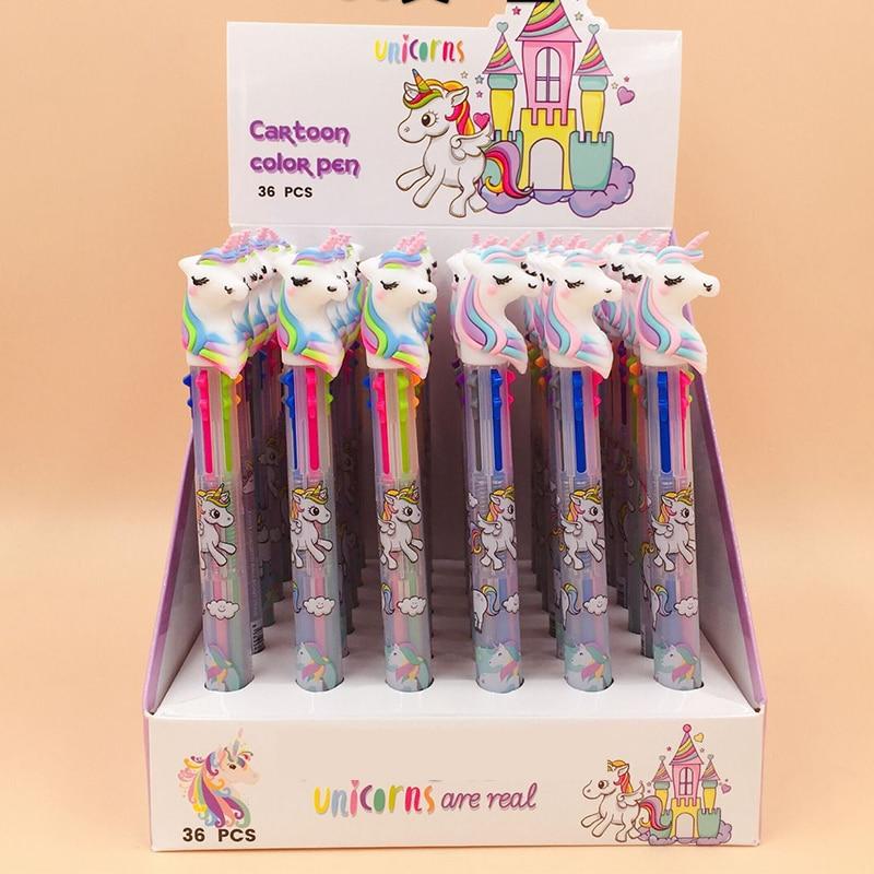 36 Pcs/lot Unicorn 3/6/10 Colors Ballpoint Pen Kawaii Cartoon Ball Pen for Kids Gift Cute Material Escolar School Supplies