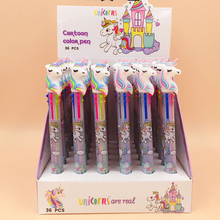 36 Pcs/lot Unicorn 3/6/10 Colors Ballpoint Pen Kawaii Cartoon Ball for Kids Gift Cute Material Escolar School Supplies
