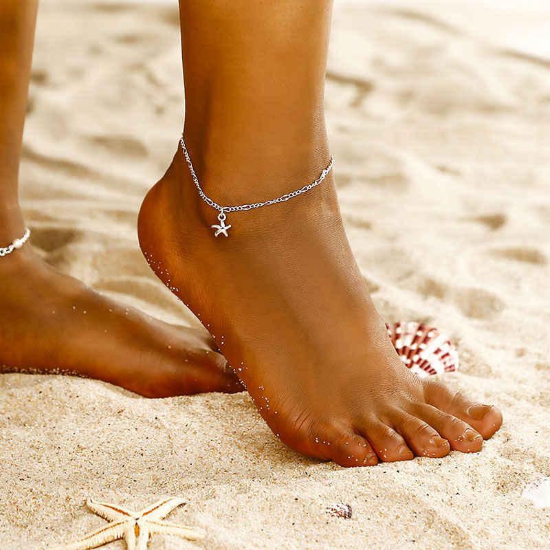 ใหม่แฟชั่นเรียบง่าย sea star Charm สร้อยข้อมือเท้าขนาดเล็กปลาดาวปลาดาว beach accessoeies เท้าหญิงเครื่องประดับ ns72