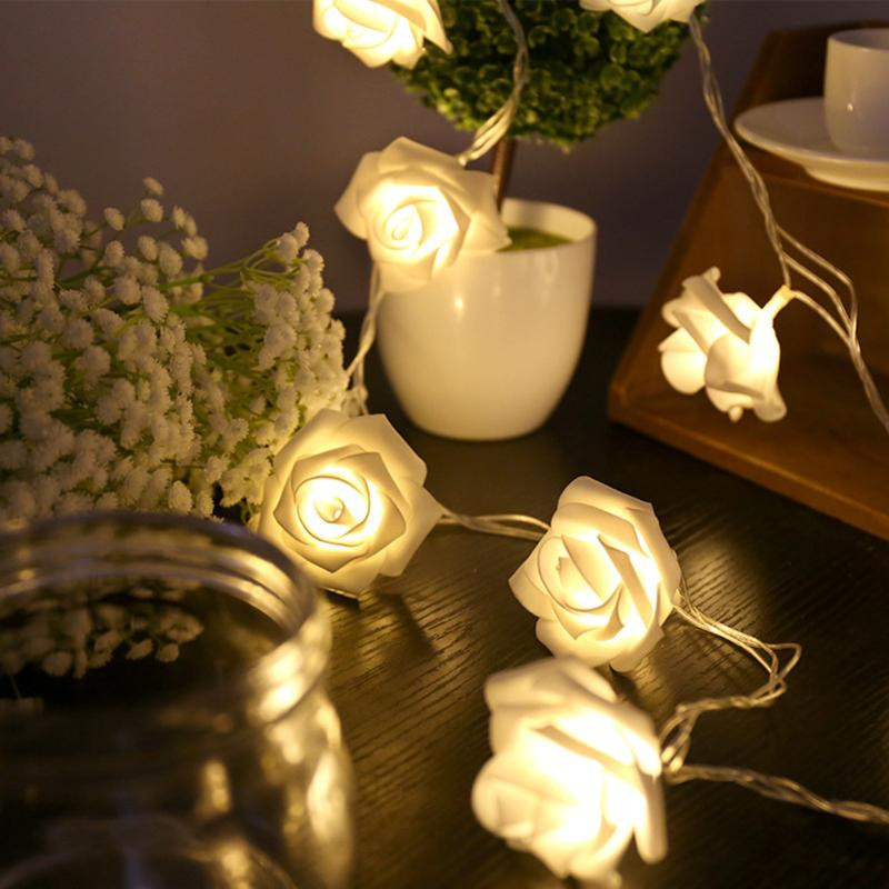 2018 Lover Garlands Holiday Lighting 5M 28 LED Lifelike Rose Flower Fairy String Lights Romantic Wedding Garden Party Home Decor in LED String from Lights Lighting