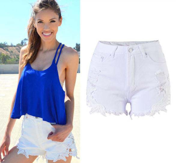 New Arrival High Waist Jeans Side Spliced Lace Sex Hot Women Denim Shorts Ripped Hole Pure White Female Slim Mini Shorts D200