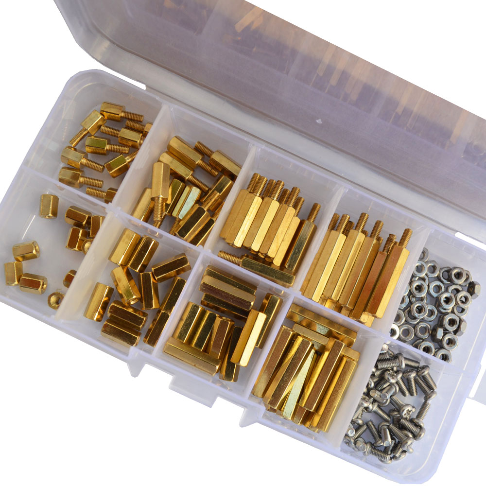 M2.5 Brass Male Female Hex Standoff Threaded Mount PCB Hexagon Motherboard Spacer Bolt Screw Long Nut Set Assortment Kit