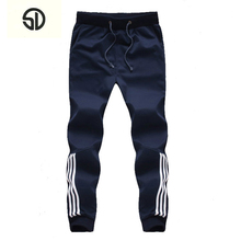 2019 New Fashion Tracksuit Bottoms Mens Casual Pants Cotton Sweatpants Mens Joggers Striped Pants Gyms Clothing Plus Size 5XL cheap Full Length Flat skinny Polyester Midweight Broadcloth Pockets HIP HOP Drawstring striped joggers fitness pants men sport pants jogging pants homme