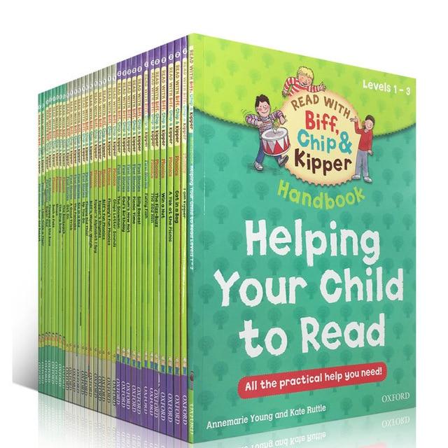 1 ชุด 33 หนังสือ 1 3 ระดับ Oxford reading tree Biff, chip & Kipper หนังสือมือช่วยเด็กอ่าน Phonics ภาษาอังกฤษ story Picture book บน   1
