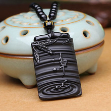 Drop Shipping Natural Black Obsidian Pendant Amulet Clean Heart Obsidian Necklace For Men Women Crystal Fine Jewelry Gift все цены
