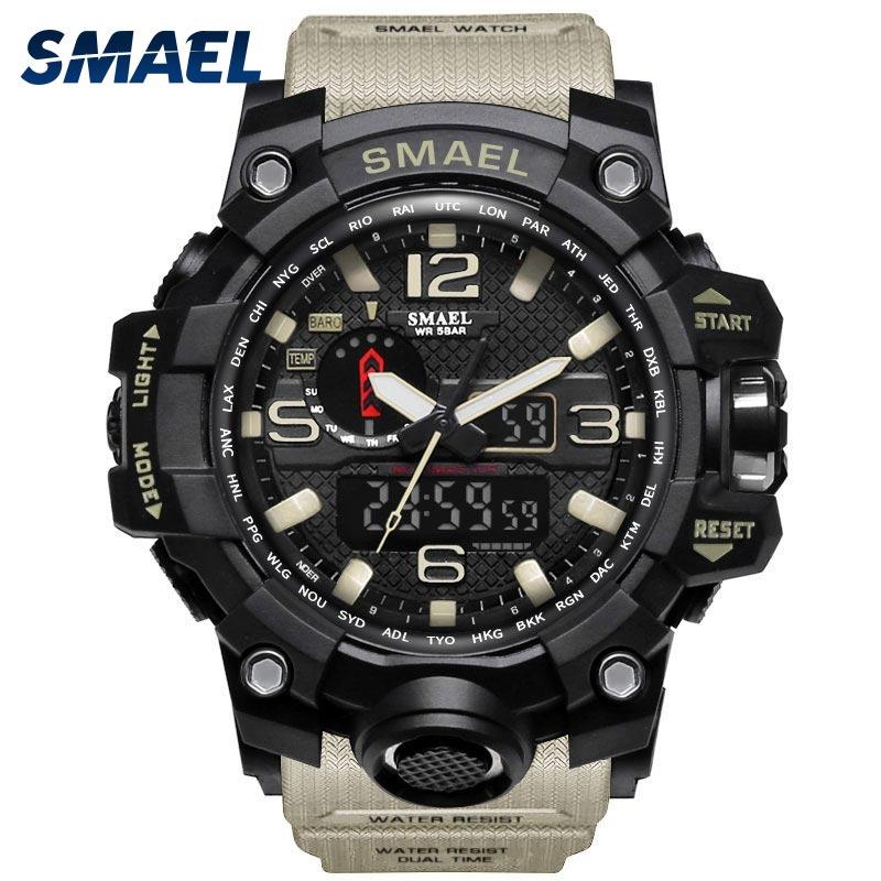 Hombres reloj militar 50 m resistente al agua reloj de pulsera de cuarzo LED reloj deporte reloj hombre relojes masculino 1545 deporte reloj de los hombres shock