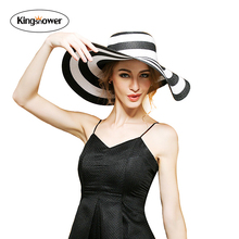 2016 New women Piano key black and white striped sun hat female summer UV collapsible Large Brim shading Folding Floppy z0030