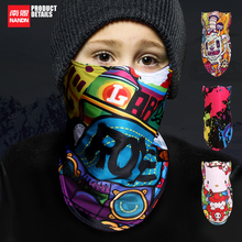 NANDN Children Outdoor Ski Snowboard Winter Warmer Sport Full Face Mask Pirates 3D Printed Triangular Scarf Skiing Mask