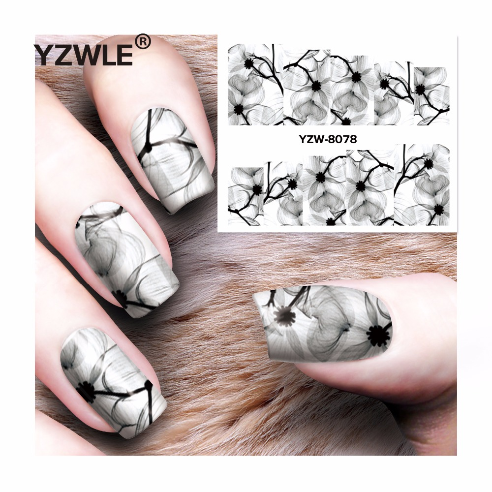 YZWLE 1 Sheet DIY Decals Nails Art Water Transfer Printing Stickers Accessories For Manicure Salon  YZW-8078 1 sheet beautiful nail water transfer stickers flower art decal decoration manicure tip design diy nail art accessories xf1408