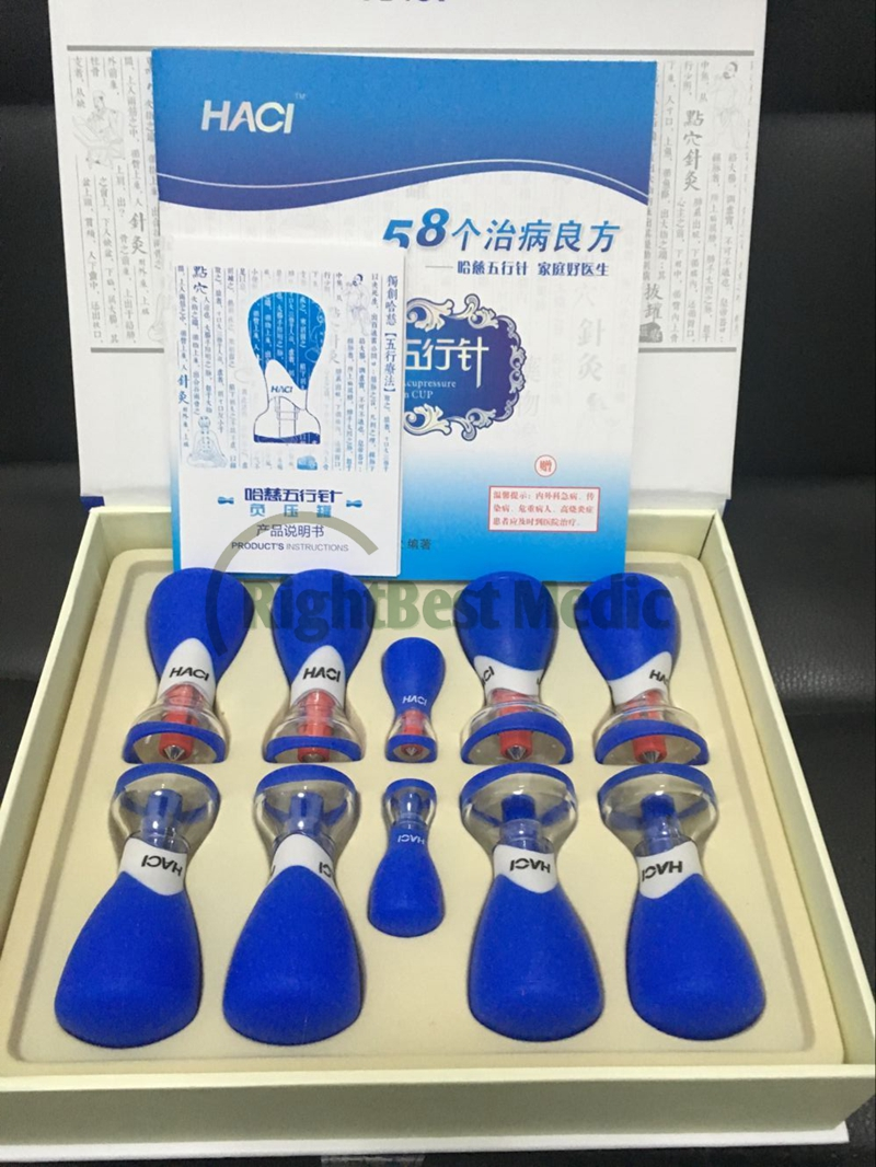 Gratis Pengiriman 2018 Baru Deluxe HACI Magnetic Akupresur Hisap Bekam Set HACI Wu Xing Zhen 10 Piala Magnetic bekam thearpy
