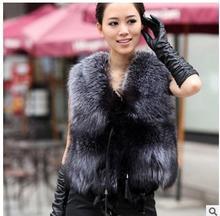 2016 Free Shipping Womens Imitation Fox Fur Vest Short Secction Casual Female Autumn Spring Fur Waistcoats Plus Size Vests J1414