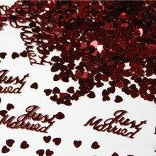 Лидер продаж, 380 шт., вечерние настольные Scatters, конфетти, золотого и серебряного цвета, дизайн «только что женился», вечерние принадлежности для украшения DIY и свадьбы