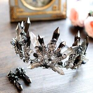 Ободок тиара HIMSTORY в стиле ретро, с черными кристаллами, большие размеры, головные уборы для свадебной фотосъемки, аксессуары для волос