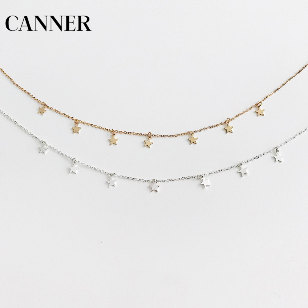 Canner Women Choker Gold Silver Chain Star Necklace 2019 Fashion Boho Jewelry For