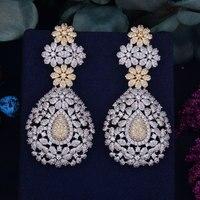 GODK 70mm Luxury Princess Tassels Full Mirco Cubic Zirconia Naija Wedding Women Earring Fashion Jewelry