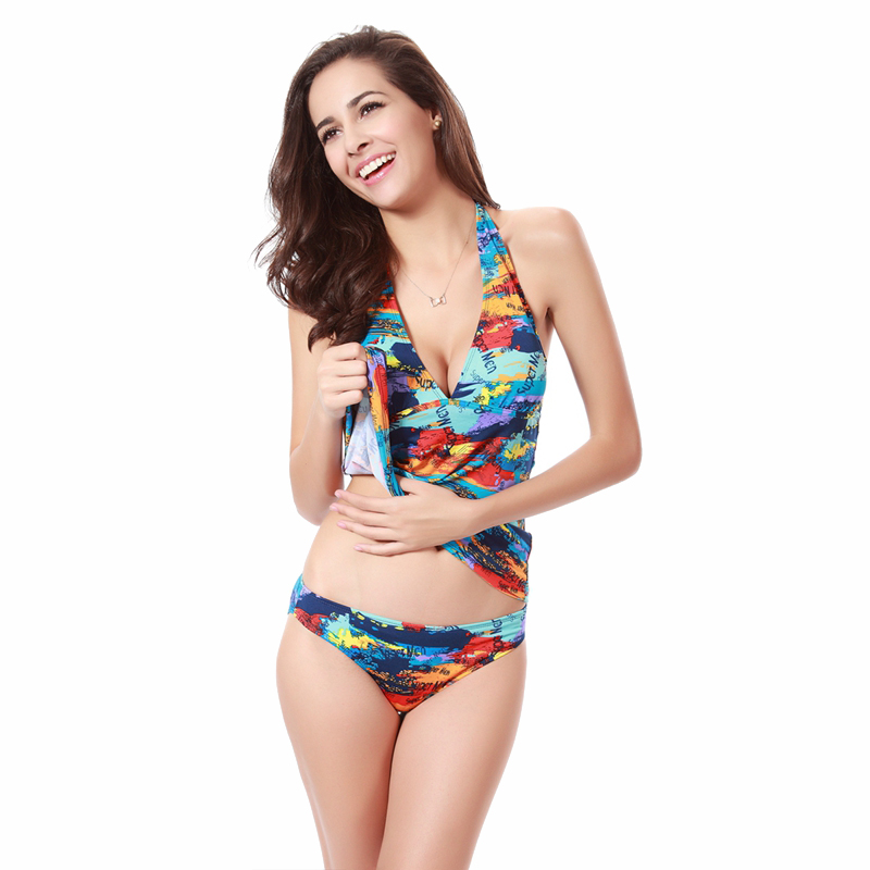 Two pieces sexy high waisted bikinis M,L,XL flower print strappy girl juniors tankini swimming low waist swimsuit 2016